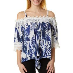 A. Byer Cold Shoulder Floral Crochet Top