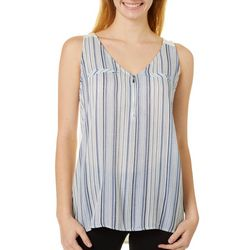 A. Byer Juniors Striped Zipper V-Neck Tank Top