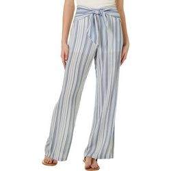 Juniors Tie Waist Stripe Pants