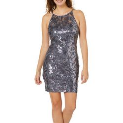 A. Byer Juniors Embellished Lace High Neck Sheath Dress