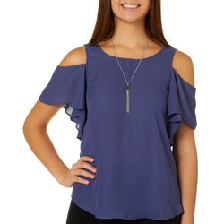 A. Byer Juniors Cold Shoulder Crisscross Back &