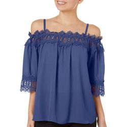 A. Byer Juniors Solid Crochet Trim Top