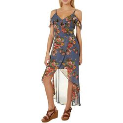 A. Byer Juniors Floral Ruffled V-Neck Sleeveless Dress