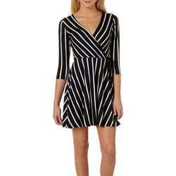 A. Byer Juniors Striped Faux Wrap Dress
