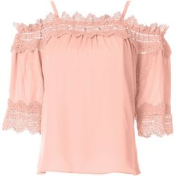 A. Byer Juniors Lace Trim Solid Top