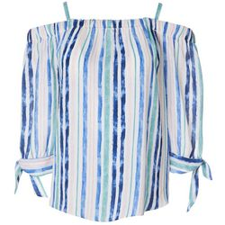 Juniors Stripes Off The Shoulder Tie Sleeve Top