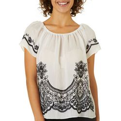 A. Byer Juniors Embroidered Floral Short Sleeve Top