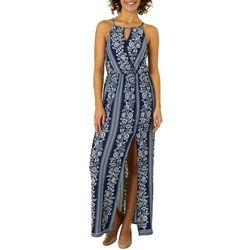 A. Byer Juniors Floral Striped Faux-Wrap Maxi Dress