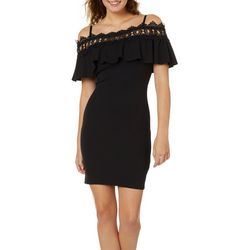 A. Byer Juniors Crochet Cold Shoulder Sheath Dress