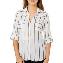 A. Byer Juniors Pin Striped Woven Pocket Top