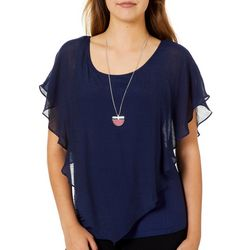 A. Byer Juniors Solid Woven Top With Necklace