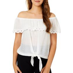 A. Byer Juniors Off The Shoulder Tie Front Sheer Top