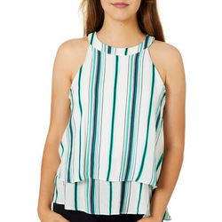 A. Byer Juniors Woven Striped Halter Top