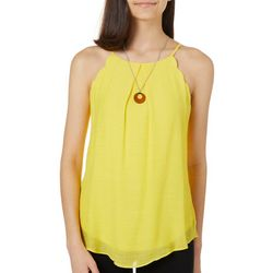 A. Byer Juniors Solid Scalloped Tank Top &