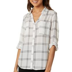 A. Byer Juniors Plaid Print Button Down Top