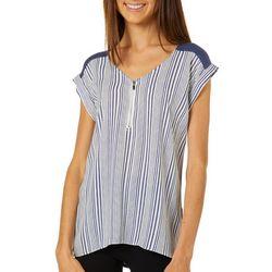 A. Byer Juniors Striped Zip Neck High-Low Top