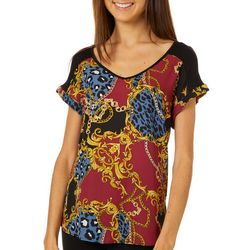 A. Byer Juniors Mixed Chain Print V-Neck Top