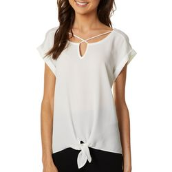 A. Byer Juniors Solid Lattice Neckline Tie Front Top