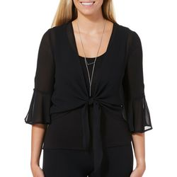 A. Byer Juniors Bell Sleeve Tie Front Top With Necklace