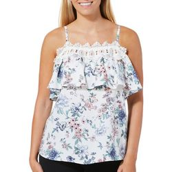 A. Byer Juniors Woven Floral Lace Trim Cold Shoulder Top