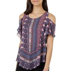 A. Byer Juniors Floral Striped Cold Shoulder Top