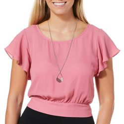 A. Byer Juniors Flutter Sleeve Top With Necklace