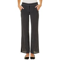 A. Byer Juniors Pin Striped Wide Leg Pull On Pants