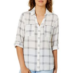 A. Byer Juniors Grid Plaid Button Down Top