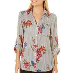 A. Byer Juniors Floral Striped Button Down Top