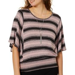 A. Byer Juniors Necklace & Speckle Striped Top