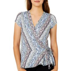 A. Byer Juniors Printed Wrap Knit Top