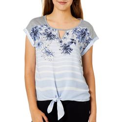 A. Byer Juniors Floral Striped Side Tie Top