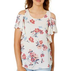 A. Byer Juniors Spring Floral Print Cold Shoulder Top