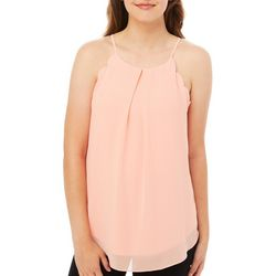 A. Byer Juniors Solid Scalloped Trim Sleeveless Top