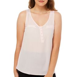 A. Byer Juniors Studded Faux Pocket Tank Top