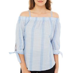 A. Byer Juniors Striped Cold Shoulder Tie Sleeve Top
