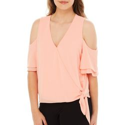 A. Byer Juniors Solid Cold Shoulder Side Tie Top