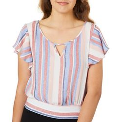 A. Byer Juniors Cropped Stripe Ruffle Sleeve Tie Back Top