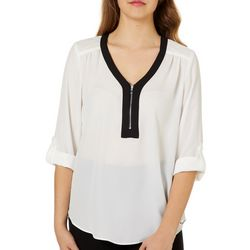 A. Byer Juniors Contrast Trim Zip Neck Top