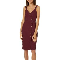 A. Byer Juniors Solid Button Front Midi Sleeveless Sundress