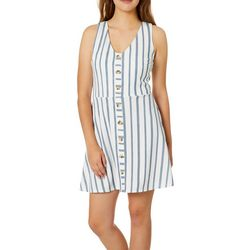 A. Byer Juniors Striped Button Down Fit And Flare Dress