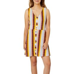 A. Byer Juniors Multi Stripe Button Down Fit And Flare Dress