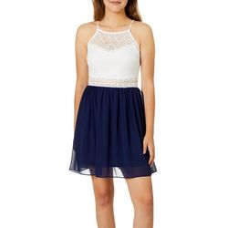 A. Byer Juniors Lace Yoke Sleeveless Dress