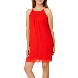 A. Byer Juniors Solid Scalloped Trim Shift Dress