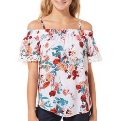 A. Byer Juniors Floral Crochet Cold Shoulder Top