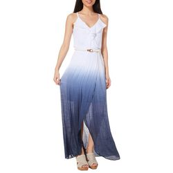 A. Byer Juniors Belted Dip Dye Maxi Dress