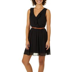 A. Byer Juniors Belted Ruffled Sleeveless Dress
