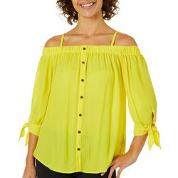 A. Byer Juniors Solid Cold Shoulder Button Down Top
