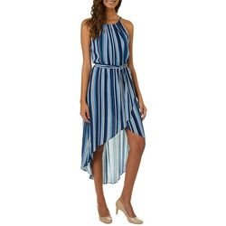 A. Byer Juniors Belted Striped High-Low Maxi Dress