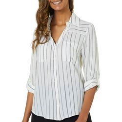 A. Byer Juniors Dotted Stripe Button Down Top